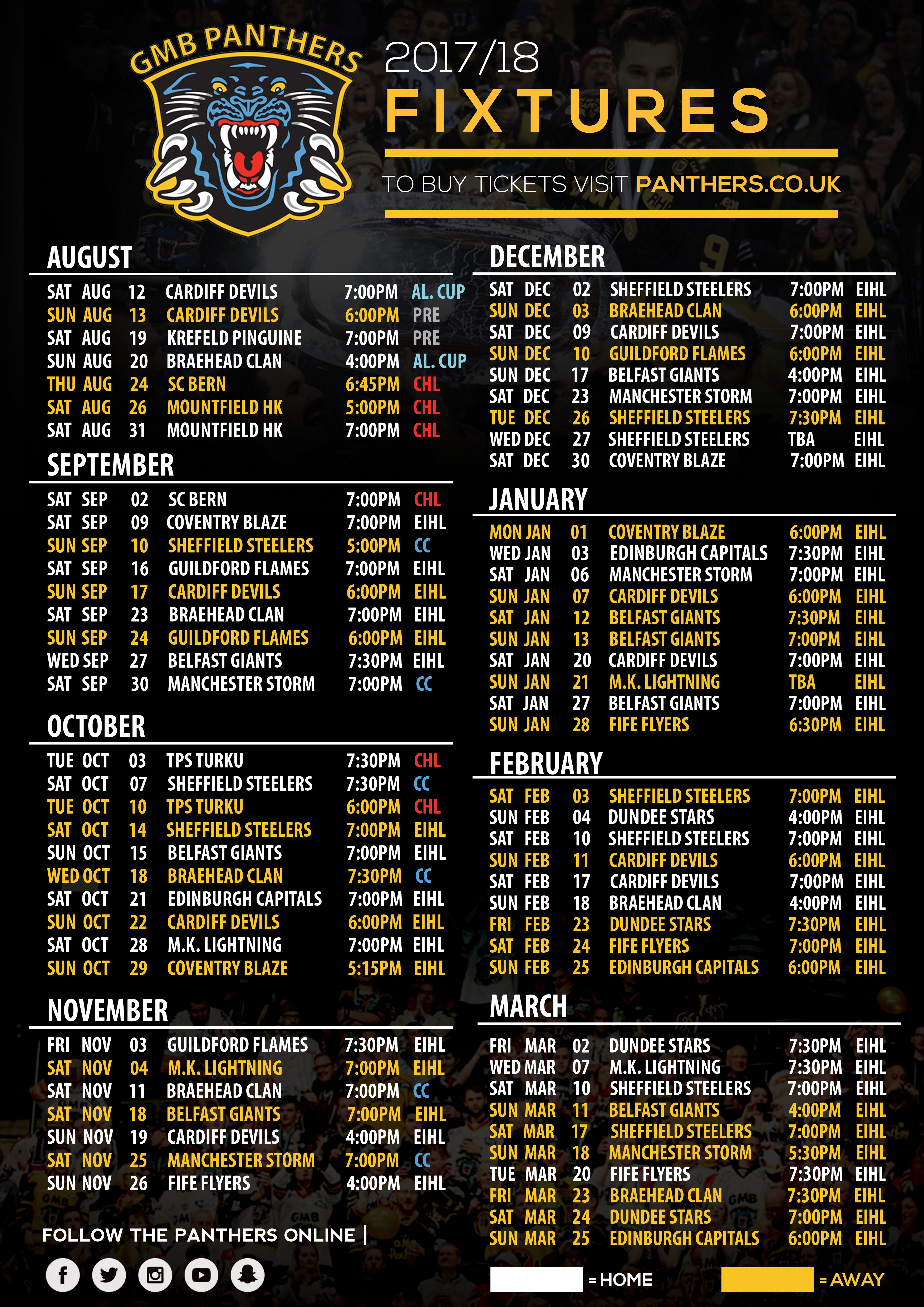 Fixtures released for 2017-18 - Nottingham Panthers