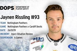 Rissling receives six game ban